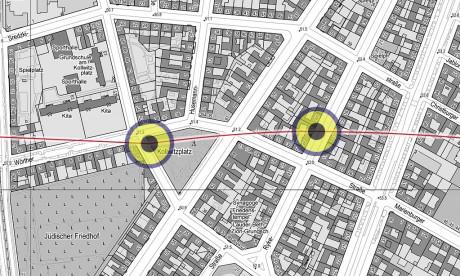 Detail, Lageplan der Markierungen, u.A. am Kollwitzplatz...