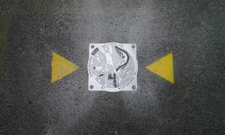 Markierung in der Nähe der Erftstraße 16e
